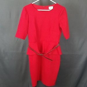 3 for $10- Size 6 red belted midi dress